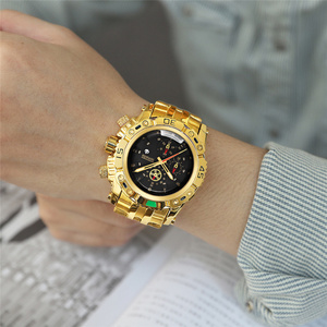 Image 4 - TEMEITE złoty zegarek dla mężczyzn kalendarz ze stali nierdzewnej kwarcowy zegarek moda męska duże zegarki na rękę Top marka ekskluzywny zegarek