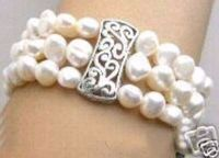 Hot selling free shipping******** NATURAL SOUTH SEA 3 STRAND PEARL BRACELET WHITE GSP