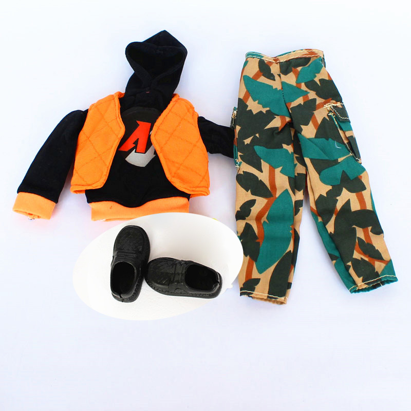 Garments set + Sneakers / Handmade Colorized Winter Put on Hoody Waistcoat Pants Man Outfit Equipment For 1/6 Barbie Boy Ken Doll