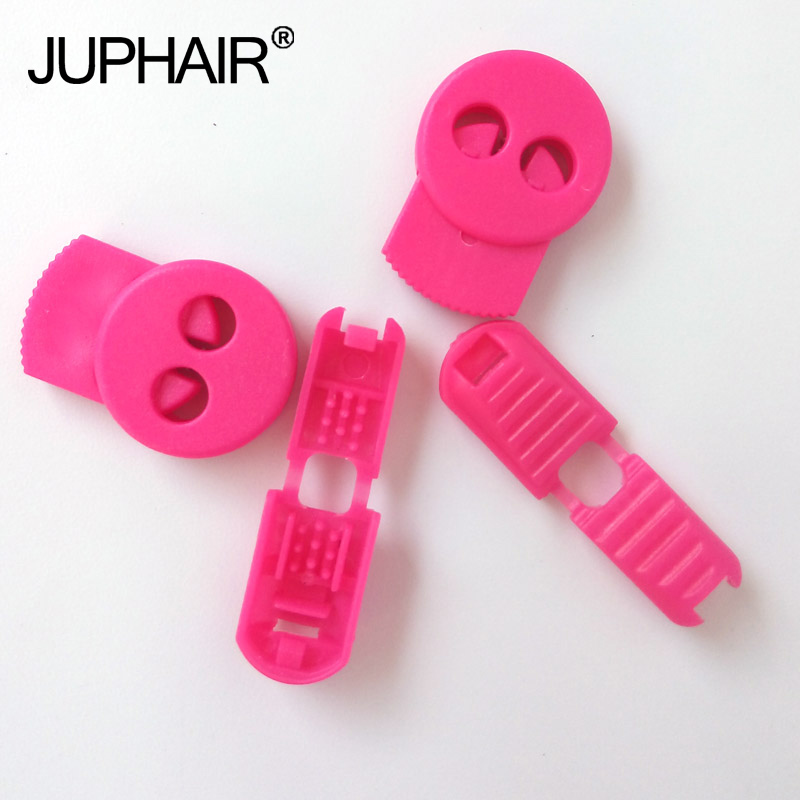 JUP1-50 Sets Rose Red Flat Buckle Elastic Shoes Buckles Hole Plastic Stopper Toggle Clip Apparel Shoelace Sportswear Accessories