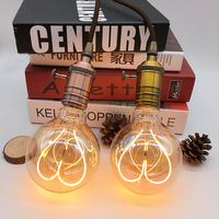 Vintage Led Find Light Bulbs G95 Heart Shape Soft Led Filament Lamp