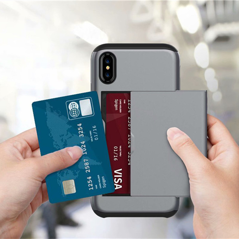 For <font><b>Iphone</b></font> X XR XS Max Luxury Rugged Tough Hybrid Slide Wallet Card Storage Armor <font><b>Case</b></font> TPU + PC Silicone Shell Men Phone Cover image