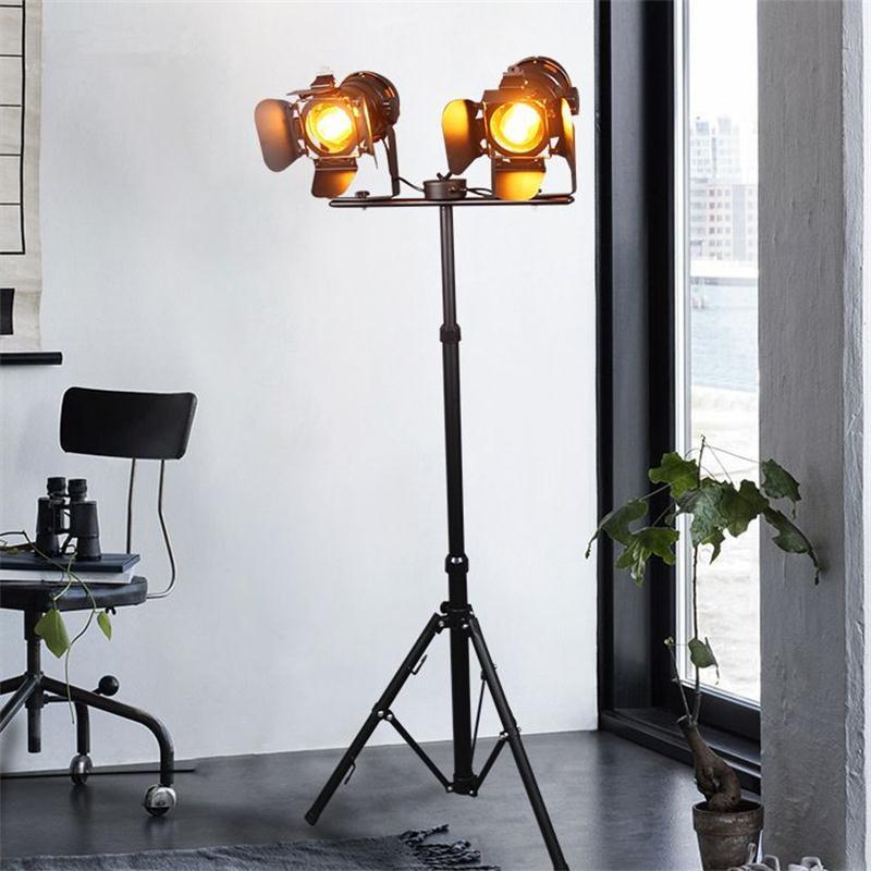 Lâmpadas de Assoalho de Loft Industrial Bar Estúdio Criativo Retro Tripé Mancha Preta Piso Luzes Restaurante Do Hotel Iluminação Do Vintage