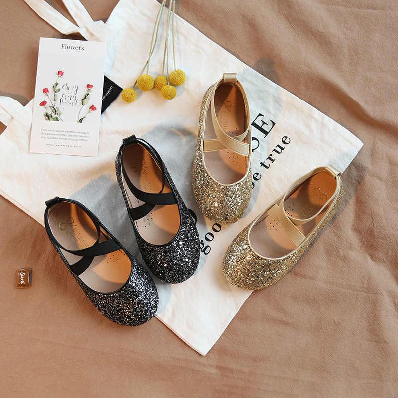 ฤดูใบไม้ผลิเด็กทารกใหม่เลื่อมรองเท้าเด็กแฟชั่นรองเท้าเด็ก Glitter รองเท้าแบรนด์รองเท้าเต้นรำ Princess Mary Jane 2019