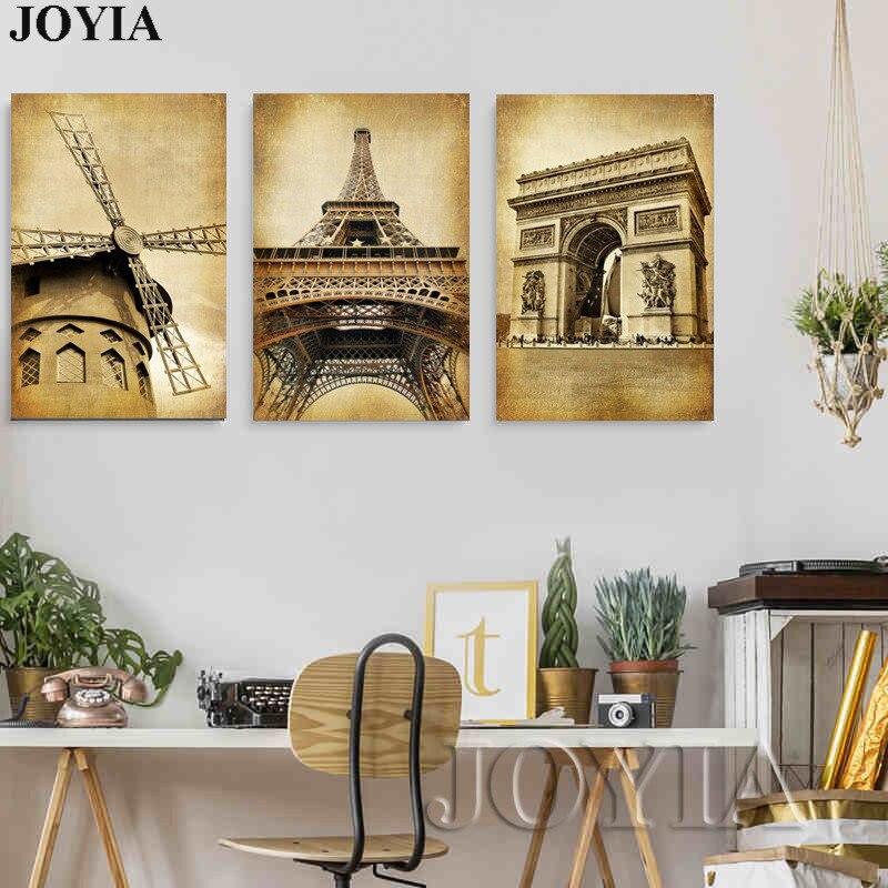 Classic Home Decor Pieces: 3 Piece Classic Paris Painting On Canvas Vintage Wall Art