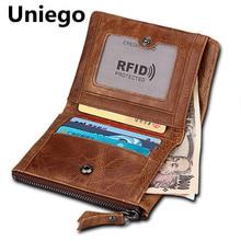 Uniego RFID Genuine Leather Short Men Wallets Coin Pocket Zipper Male Wallet Clutch Card Holder Bifold Purse HB55