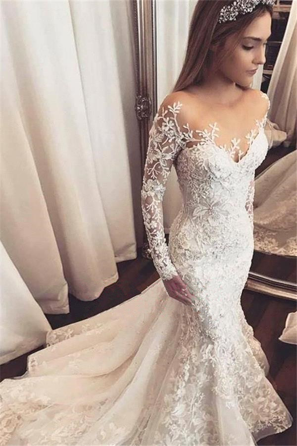 Vestido novia 2019 Sexy sirène robe de mariée manches longues blanc ivoire dentelle appliques robes de mariée dos ouvert robe de mariée - 3