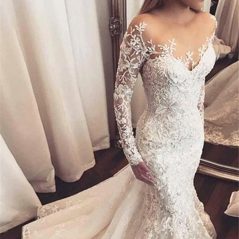 vestido novia 2019 Sexy Mermaid Wedding Dress Long Sleeve White Lace Applique Bridal Wedding Gowns Open Back Bride Wedding Dress Karachi
