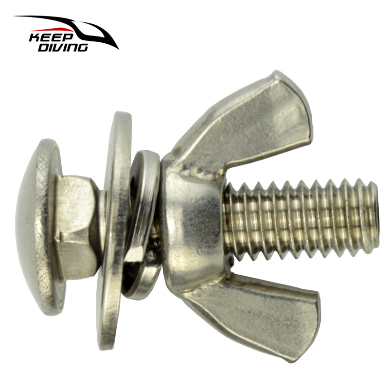 OTG Tech Scuba Diving Stainless Steel 1.5inch Long Bolts Wing Nuts (Pair)