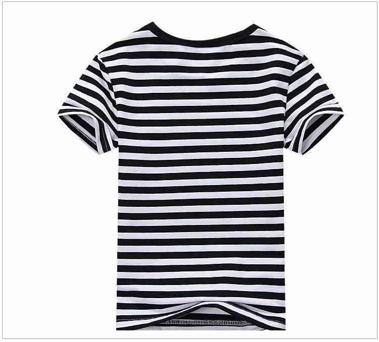 34ca4596924 ... Plain Girls and Boys T-Shirt Unisex Striped Black White Cotton Tops  Tees 2018 Summer ...