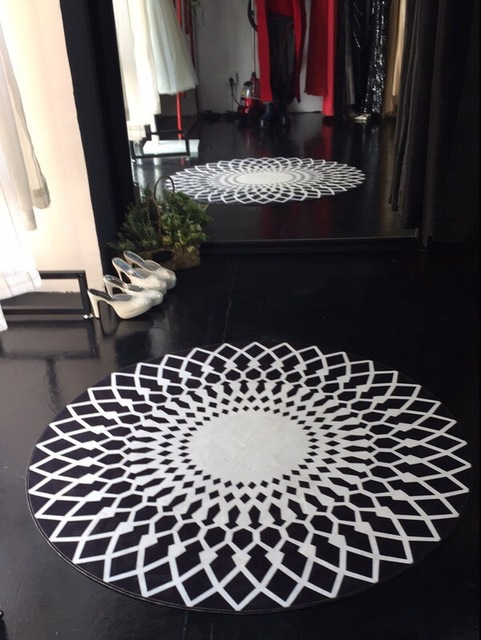 Nordic Minimalist Fashion Black White Circular Pad Carpets Kids Bedroom  Study Room Model Rugs Carpet Floor