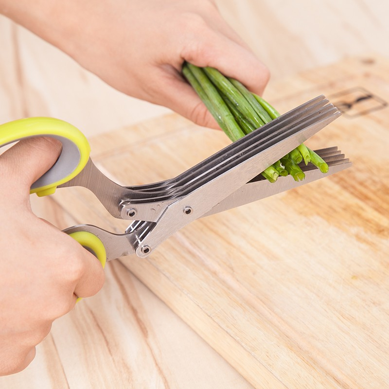 High Quality Stainless Steel 5 Layers Kitchen Scissors Chopper Shredder Sushi Scallion Herb Spices Cutter Cooking Tools @