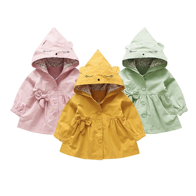0-4 Years Old Children Girls Jackets Cotton autumn hooded windbreaker baby girls Korean Style solid color coat 0 4 years old children girls jackets cotton autumn hooded windbreaker baby girls korean style solid color coat
