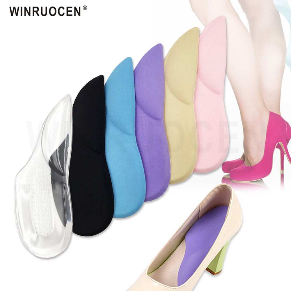 WINRUOCEN 3/4 Orthopedic Arch Supports Shoe Insoles Heels Pads for High Heel Shoe Liners Gel Inserts Pain Relief palmilha Insole image