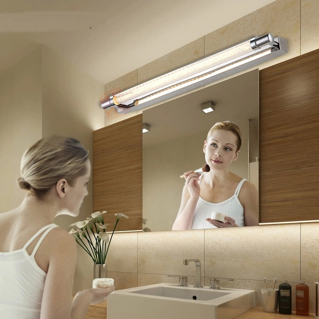simple bathroom make-up LED wall lamps Mirror front light waterproof bathroom wall lamp stainless steel mirror cabinet FG25 modern stainless steel led front mirror light bathroom cabinet dressing make up wall lamps 25 40 55 70 105cm 3 5 7 9 15w novelty