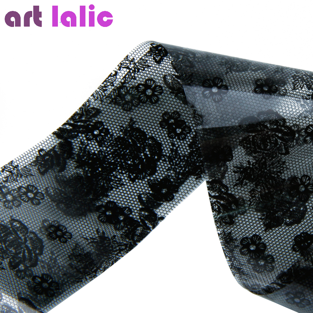 1PC 3D Black Lace Nail Art Foil Stickers Flower Nail Decals Tips Transfer Manicure Tool Popular Top Quality 20cm black and white lace nail sticker transfer sticker nail art foil stickers flower nail art tool