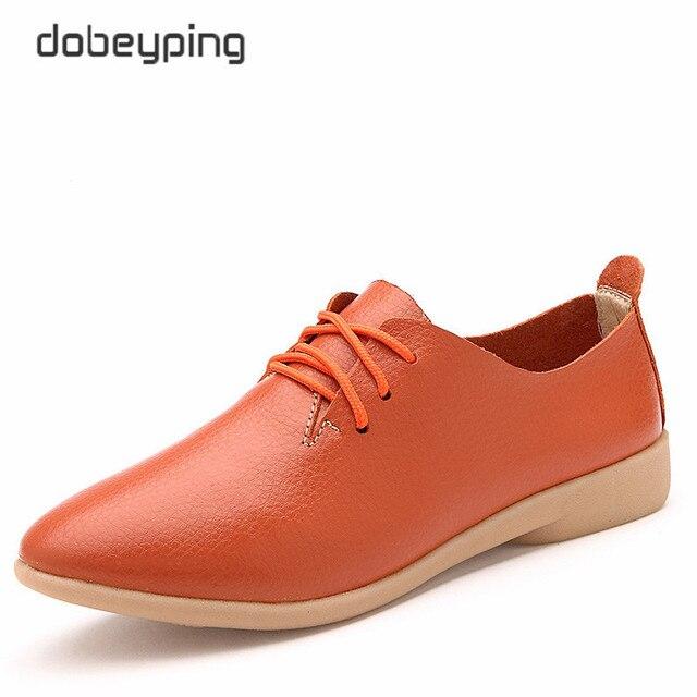 Casual Ballet Shoes Women Soft Genuine Leather Women's Loafers Slip On Woman Flats Shoe Flexible Peas Footwear Large Size 35-41