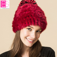 Winter Rabbit Fur Beanies Headgear For Women With Luxury Ball Flower Cap Women S Customized Hat