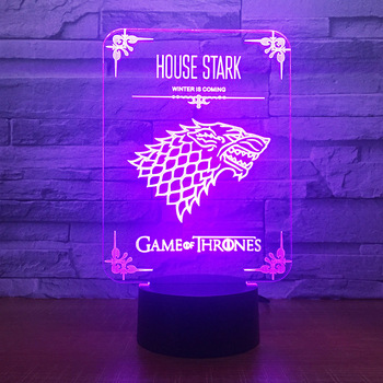 Game of Thrones Wolf Acrylic Illusion 3D LED Lamp 7 Colors Changing USB Touch Desk Lamp