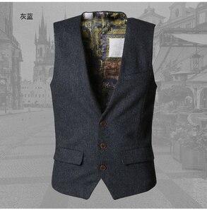 Image 4 - Hommes gilets formelles robe costume gilet mince Trois bouton De Laine gilet hommes casual sans manches Britannique autumnn costume gilet M87