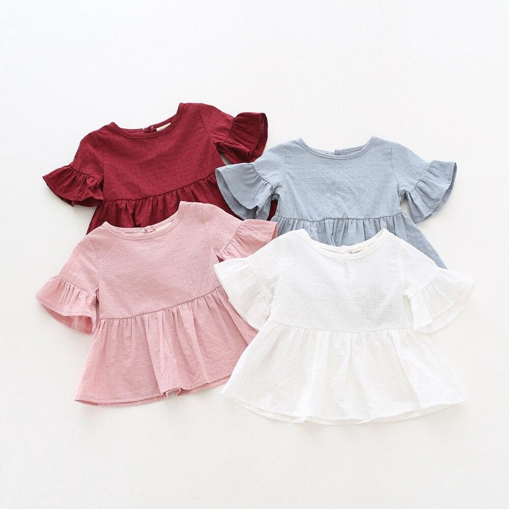Children's Wear Summer New Girl Lotus Leaf Edge Shirt Short-sleeved Blouse Doll Shirt Korean Version