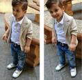 2017 Meninos Moda Infantil Da Criança Do Bebê Cavalheiro Camisa Casaco + Calças Calças Jeans Outfit Outono Set Roupas Outwear 3 pcs roupas
