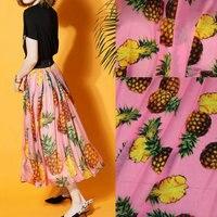 1 metro de la venta caliente tela de gasa fina, piña rosa impresa tela de gasa suave, vestido de las mujeres y falda de gasa de tela de tejido