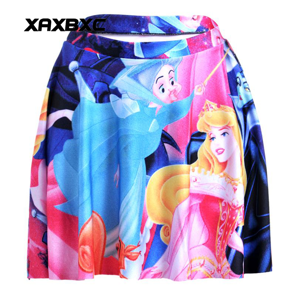 NEW 1138 Summer Sexy Girl witch sleeping beauty Aurora Printed Cheering Squad Tutu Skater Women Mini Pleated Skirt Plus Size
