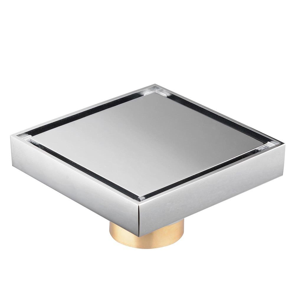 Bathroom soild brass 4x4 inches square shower floor drainchrome bathroom soild brass 4x4 inches square shower floor drainchrome ceramic tile insert invisible style in drains from home improvement on aliexpress dailygadgetfo Choice Image