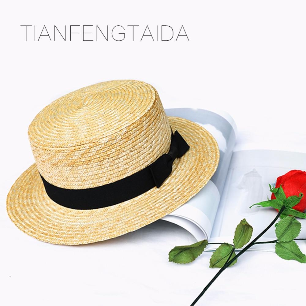 Woman athlete sun hat summer new fashion wheat Panama sun hat beach hat ribbon bow knot naval style straw hat children cap
