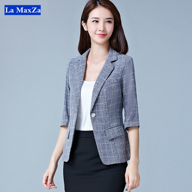 32387a5f0c3e Plaid Blazer Jacket For Women Office Lady Work Wear Stylish Formal Suit  Business Notched Single Button Tops Plus Size Outwear