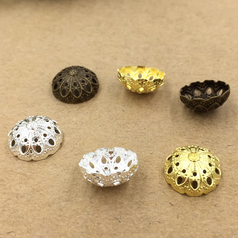 12mm Fashion Hollow Out Flowers Bead Caps Filigree Connectors DIY Jewelry Making cy2132