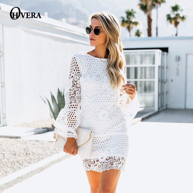 06373df37a38 Ohvera White Sexy Lace Party Dresses Women Backless Beach Casual Dress 2018  Flare Sleeve Mini Autumn Bodycon Dress Vestidos