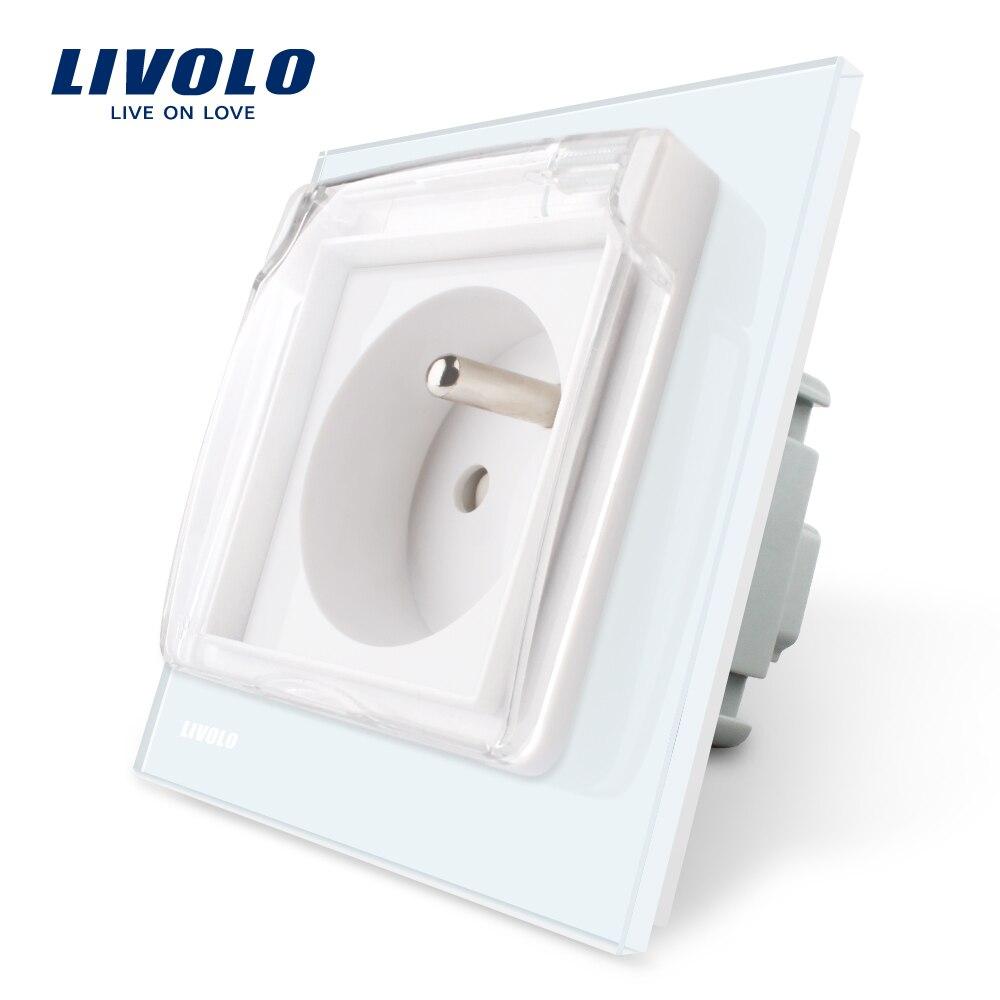 Livolo nueva salida, francés estándar del zócalo de energía, VL-C7C1FRWF, 4 colores Panel de vidrio, AC 100 ~ 250 V 16A, con la cubierta impermeable.