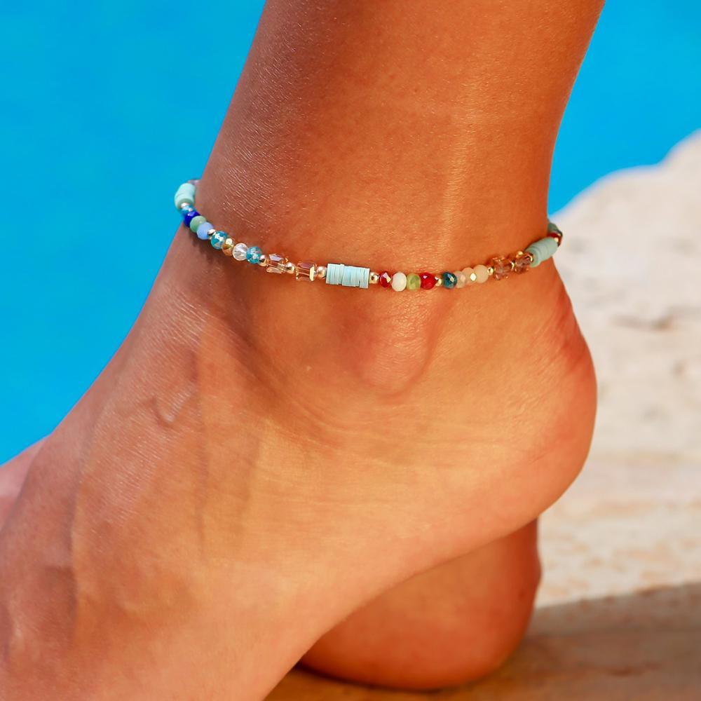 NEWBUY 2021 New Fashion Handmade Beads Anklets For Women Girl Summer Beach Jewelry Boho Colourful Ankle Bracelet Femme Bijoux