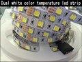 Dupla branco Temperatura De Cor Tira CONDUZIDA 5050 DC12V 5 m Um Chip com Warm White & Cold Branco, 60LED/m de luz flexível, Frete Grátis