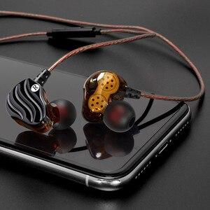 Image 5 - באיכות גבוהה כפול דינמי נהג אוזניות 3.5mm באוזן אוזניות 4 רמקולים HiFi בס סטריאו ספורט אוזניות עם מיקרופון