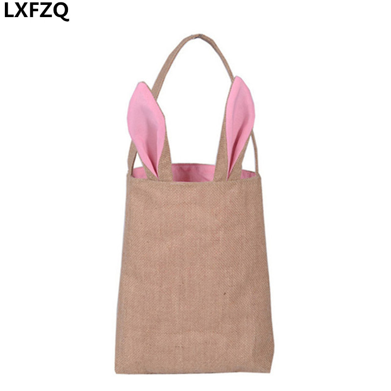 women&#8217;s handbags shoulder Bolsa Feminina Eco <font><b>Bag</b></font> Jute Cotton Cute <font><b>Bunny</b></font> Ears <font><b>Bags</b></font> kids Shopping <font><b>Bags</b></font> Kids Cutest Easter Busket
