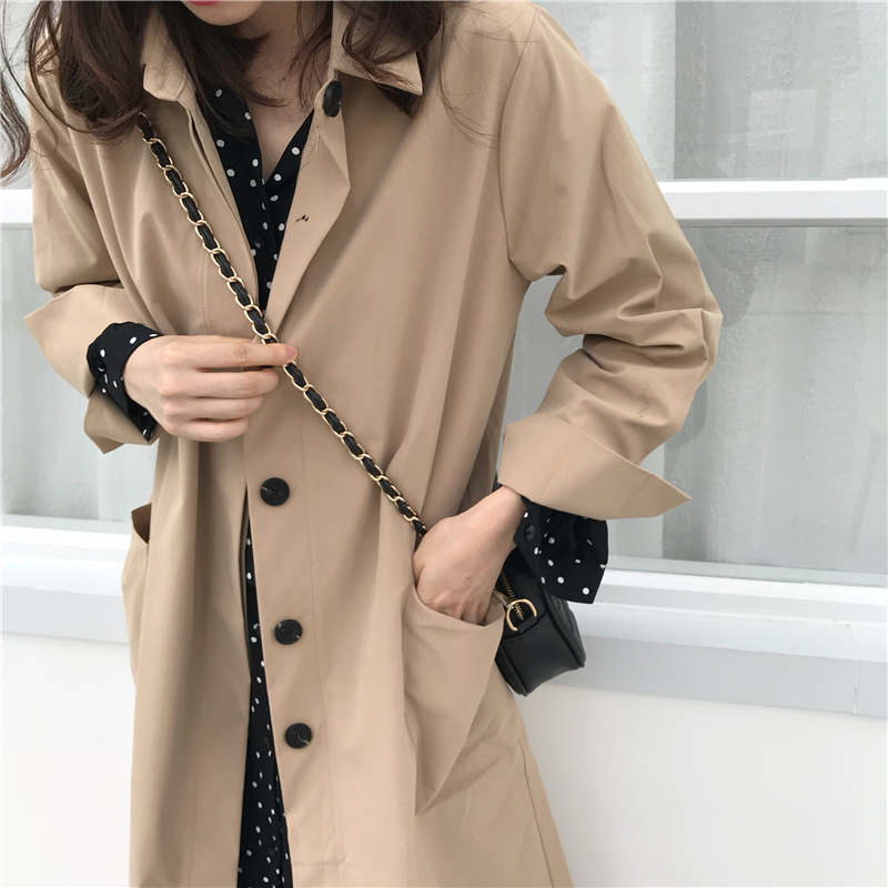 Women Autumn Long Sleeve cloak Long Trench Coat Female Pocket cardigan Straight Shirt Windbreaker Manteau Femme Hiver Overcoat 2