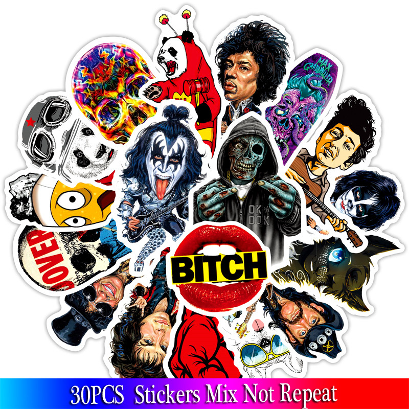 30PCS Rock Sticker Music Retro Band Graffiti JDM Stickers To DIY Guitar Motorcycle Laptop Luggage Horror Series Sticker's