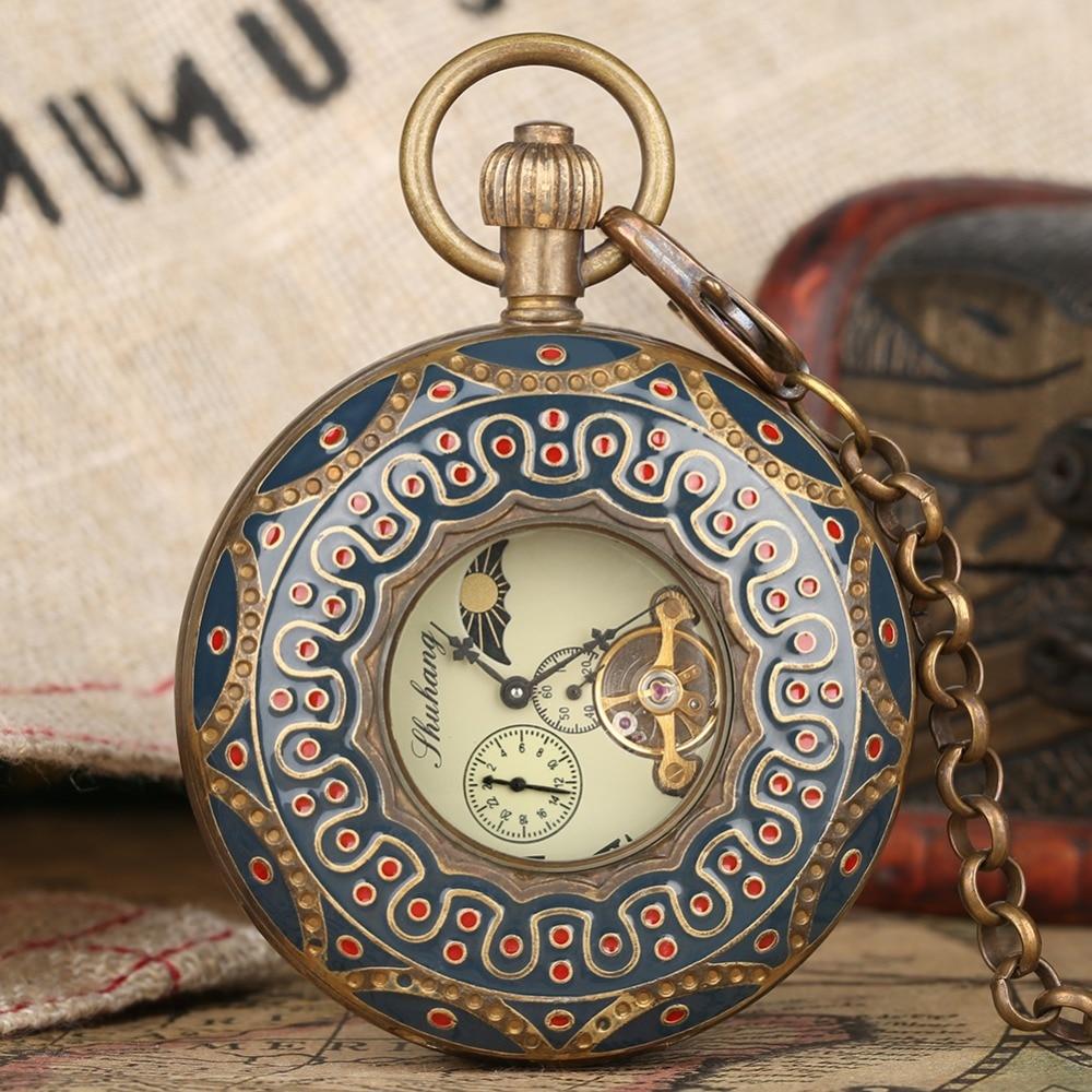 Tourbillon montre de poche rétro chiffres romains bleu Vintage pendentif horloge pour hommes femmes Fob chaîne cadeau trésor Collection Relogio