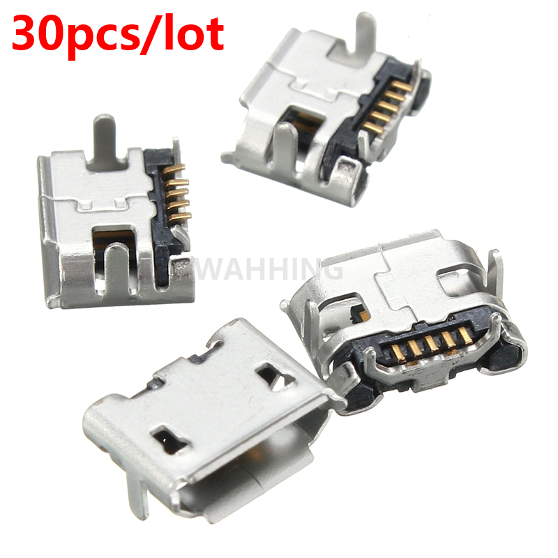 30pcs/lot Micro USB 5pin B type Female Connector Adapter SMT Tail Charging socket Plug PCB Board HY1372*30 musb c111 m0 [rugged usb a recpt r a pcb tail m3x0 5]