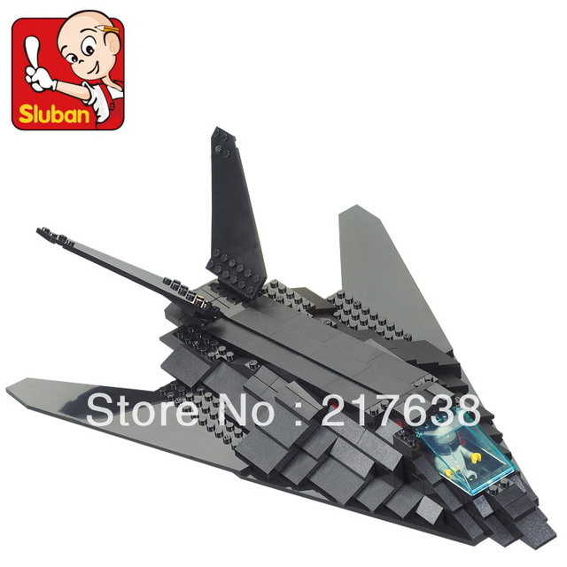 Free shipping! Sluban 209pcs/set DIY educational air forces series F117 invisibal bomber. block toys