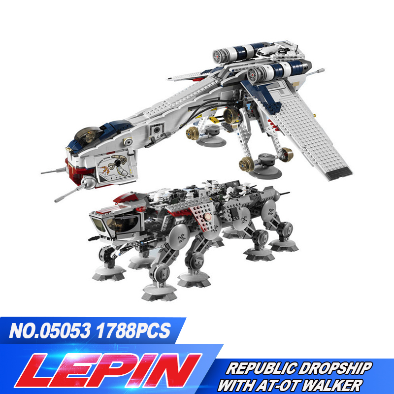 New Lepin 05053 REPUBLIC DROPSHIP WITH AT-OT WALKER Building Block Figures Model Bricks Compatible legoed With 10195 lepin 22001 pirate ship imperial warships model building block briks toys gift 1717pcs compatible legoed 10210