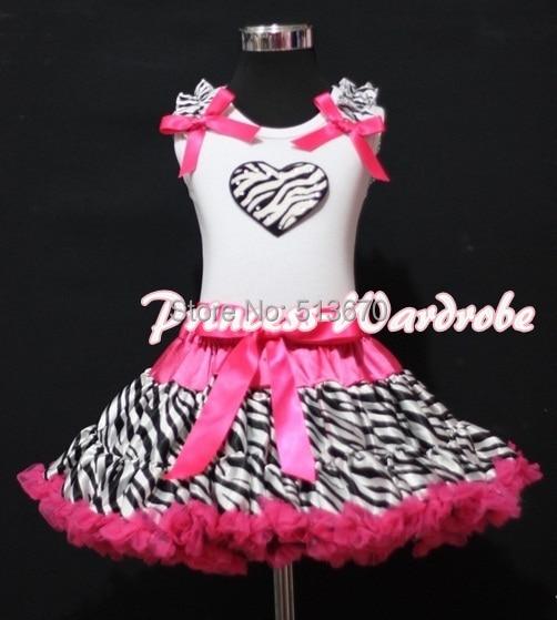 Valentine White Pettitop Top Zebra Ruffles Heart Hot Pink Zebra Pettiskirt 1-8Y MAPSA0262 white pettiskirt with patriotic america heart white ruffles