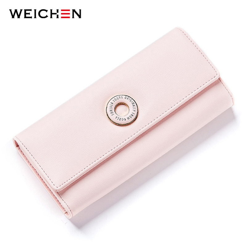 цены WEICHEN New Design Women Long Wallets Card Holder Coin Pocket Female Money Purse Fashion Brand Hasp Cluth Wallets Ladies Bag