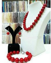 Women Gift Freshwater New Pretty 8mm Red Shell Sea Pearl Necklace Bracelet Earring Set