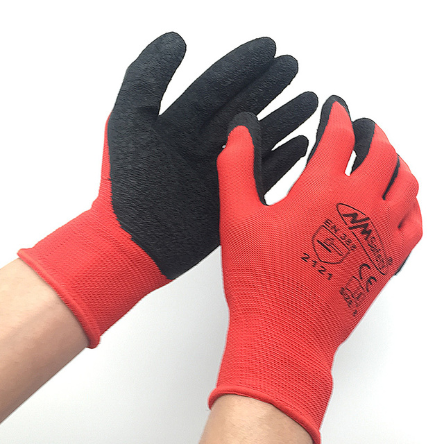 Red latex coated knit work gloves