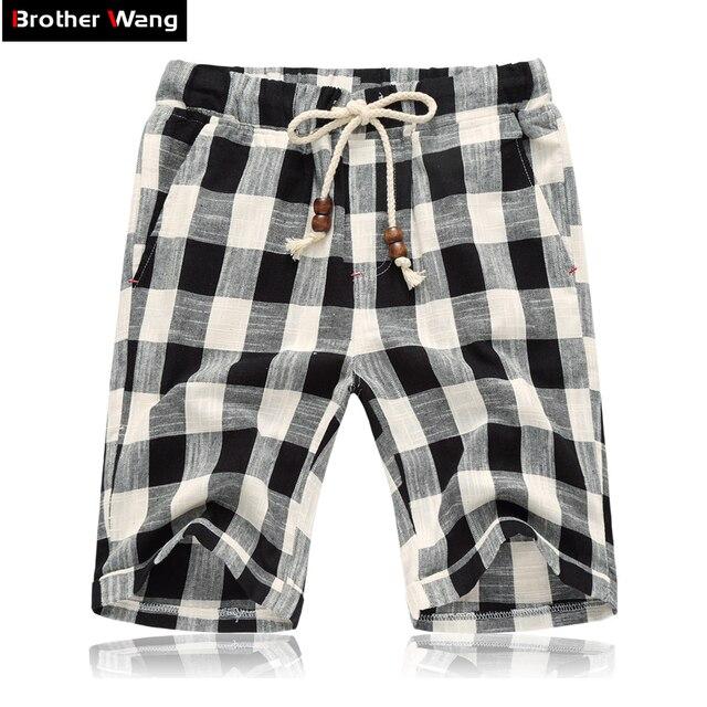 Brother Wang Casual Shorts Summer new fashion lattice Linen Bermuda Shorts Elastic waist shorts 4XL 5XL