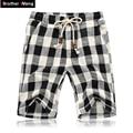 Hermano Wang Casual Shorts Bermudas pantalones cortos de cintura Elástica de Verano nueva moda Ropa del enrejado 4XL 5XL
